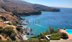 Andros, villa with pool at secluded bay