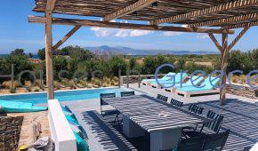 Naxos, villa with pool and sun set view on the beach for sale