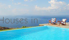Andros, villa with pool and panoramic sea view